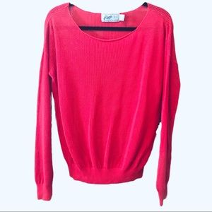 Roots Canada Red Long Sleeve Knit Sweater L